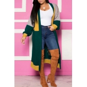 Lovely Casual Patchwork Green Cardigan
