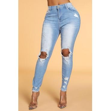 Lovely Leisure Broken Holes Skinny Blue Jeans