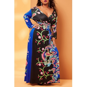 Lovely Casual Print Purple Ankle Length Plus Size Dress