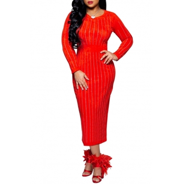 Lovely Chic Striped Red Mid Calf Dress