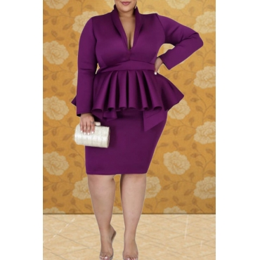 Lovely Casual V Neck Flounce Design Purple Knee Length Plus Size Dress