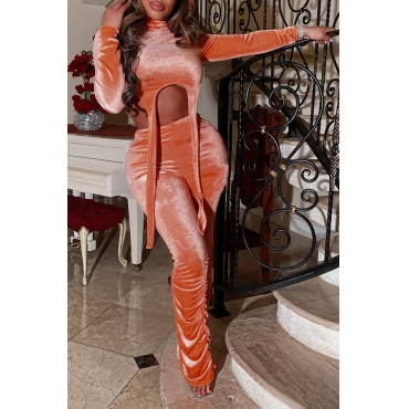 Lovely Casual Turtleneck Knot Design Croci Two-piece Pants Set