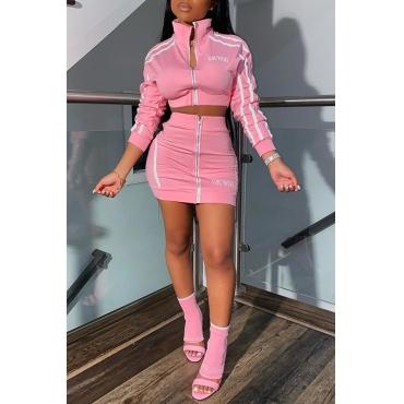 Lovely Casual Letter Zipper Design Pink Two-piece Skirt Set