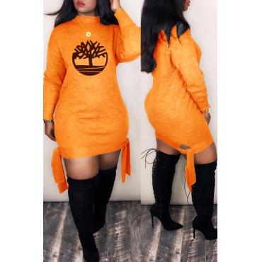 Lovely Trendy Printed Orange Mini Dress