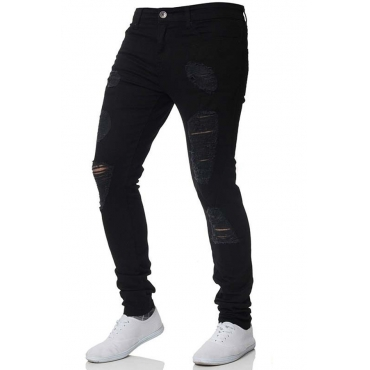 Lovely Casual Broken Holes Black Jeans