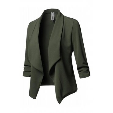 Lovely Work Turn-back Collar Green Blazer