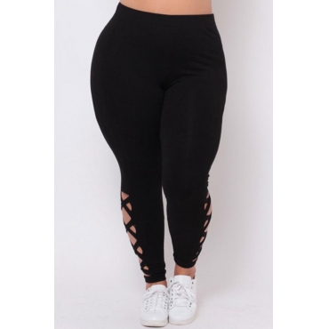 Lovely Trendy Hollow-out Black Plus Size Pants