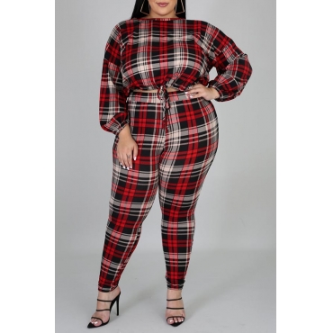 Lovely Trendy Plaid Print Red Plus Size Two-piece Pants Set