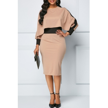 Lovely Chic Patchwork Khaki Knee Length Dress