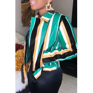 Lovely Casual Striped Green Coat