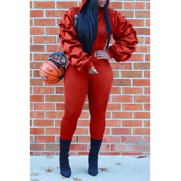 Lovely Casual Turndown Collar Red Two-piece Pants Set
