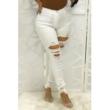 Lovely Casual Hollow-out White Jeans