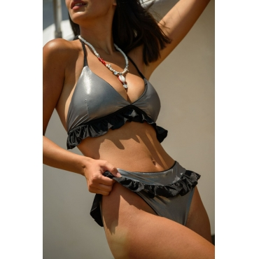 Lovely Flounce Grey Two-piece Swimsuit