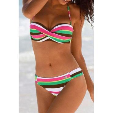 Lovely Striped Green Two-piece Swimwear
