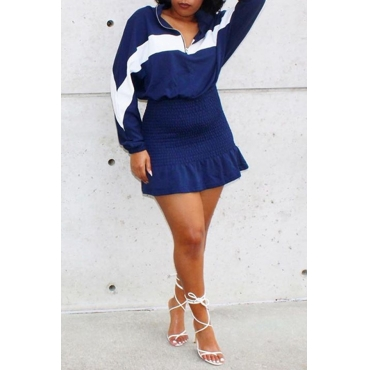 Lovely Casual Patchwork Dark Blue Two-piece Skirt Set