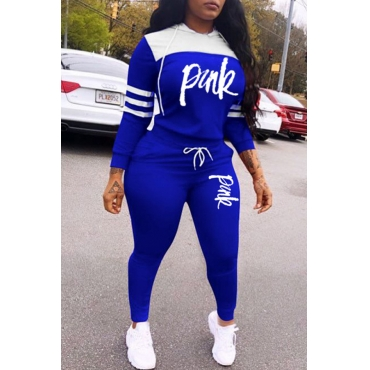 Lovely Casual Hooded Collar Letter Blue Two-piece Pants Set
