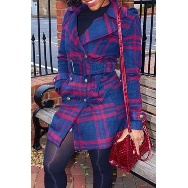 Lovely Casual Plaid Print Blue Coat