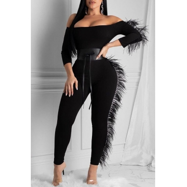 Lovely Chic Patchwork Black One-piece Jumpsuit