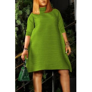 Lovely Casual O Neck Loose Green Knee Length Dress