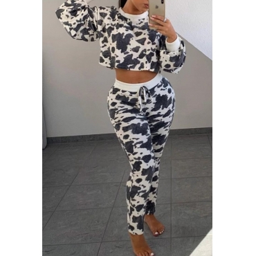 Lovely Casual Crop Top White Two-piece Pants Set
