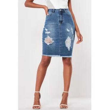 Lovely Chic Broken Holes Blue Skirt