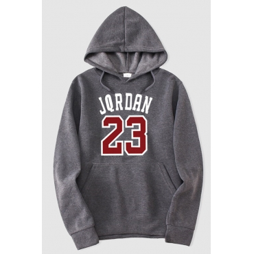 Lovely Casual Hooded Collar Letter Dark Grey Hoodie