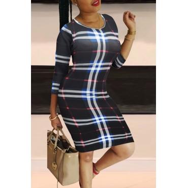Lovely Casual Plaid Print Black Knee Length Dress