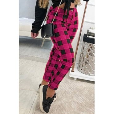 Lovely Casual Plaid Print Rose Red  Pants