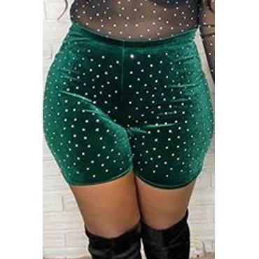 Lovely Casual Green Velvet Shorts