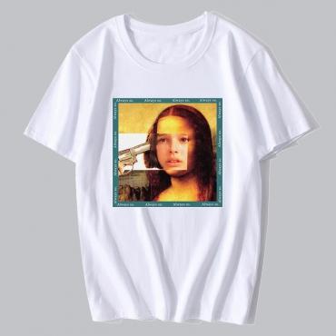 Lovely Chic Figure Print Basic White T-shirt