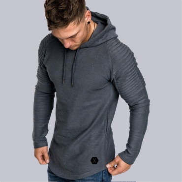 Lovely Casual Hooded Collar Ruffle Design Grey Hoodie