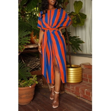 Lovely Casual Striped Orange Mid Calf Dress