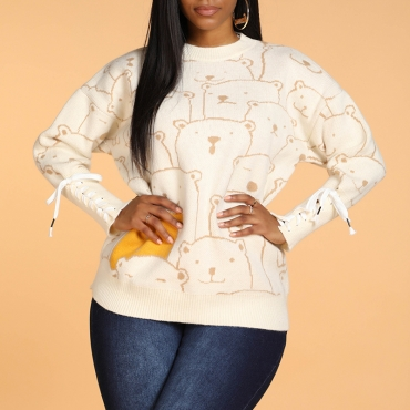 Lovely Casual Character Beige Sweater