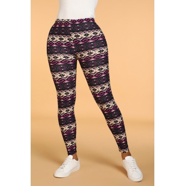 Lovely Casual Print Skinny Purple Leggings
