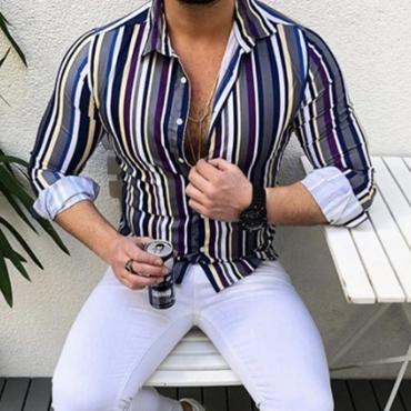 Lovely Casual Turndown Collar Striped Print Purple Shirt