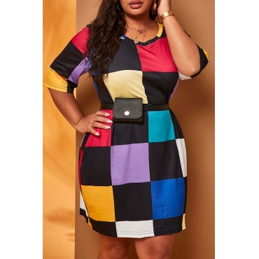 Lovely Casual Color-lump Patchwork Multicolor Plus Size Mini Dress