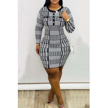 Lovely Casual Plaid Black And White Mini Dress