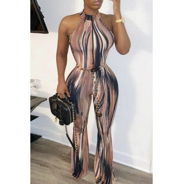 Lovely Chic Print Brown One-piece Jumpsuit