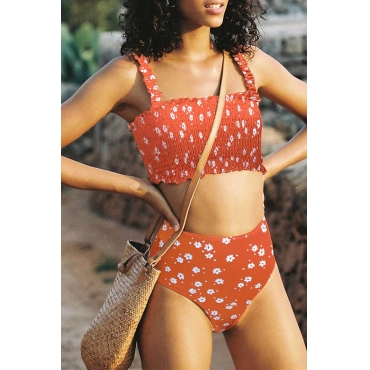 Lovely Floral Print Orange Two-piece Swimsuit