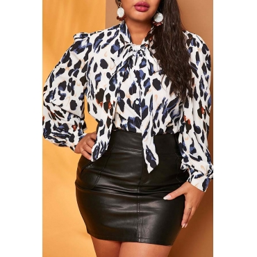 Lovely Trendy Leopard White Plus Size Blouse