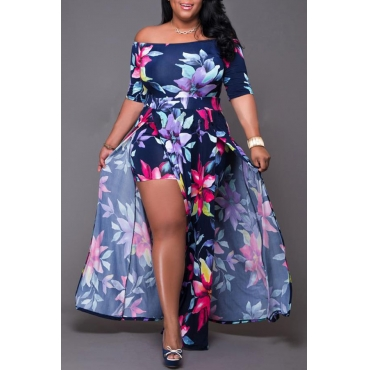 Lovely Chic Floral Print Deep Blue Ankle Length Plus Size Dress