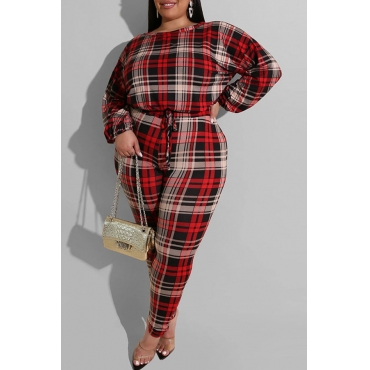 Lovely Casual Print Red Plus Size Two-piece Pants Set