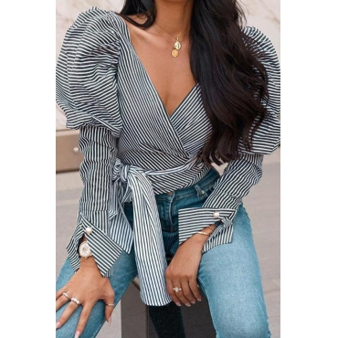 Lovely Casual Striped Black And White Blouse