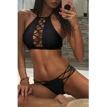 Lovely Hollow-out Black Two-piece Swimsuit