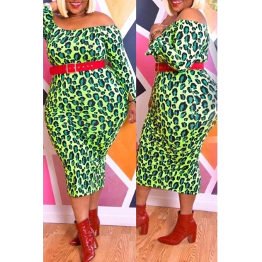 Lovely Casual Print Green Mid Calf Plus Size Dress