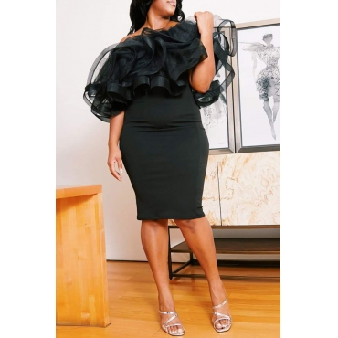 Lovely Sexy Flounce Black Knee Length Plus Size Dress