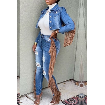 Lovely Casual Tassel Design Blue Two-piece Pants Set