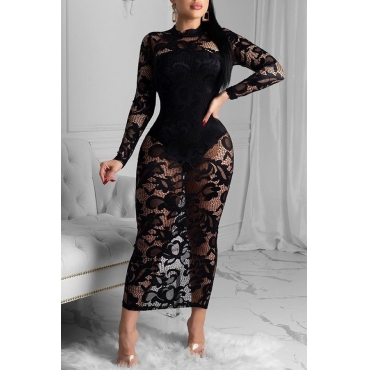 Lovely Party Lace Patchwork Black Ankle Length Dress
