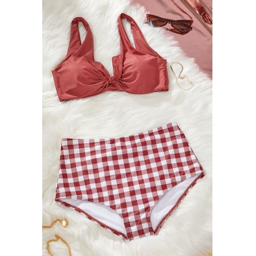 Lovely Plaid Print Red Two-piece Swimsuit