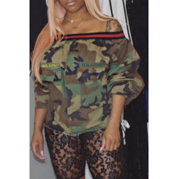 Lovely Casual Off The Shoulder Camouflage Printed Blouse